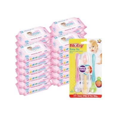 貝比Q EDI超厚超純水柔濕巾(80抽)x24包/箱/(無香料)+Nuby 旅行湯匙組(三入/附盒)/隨機出貨*1