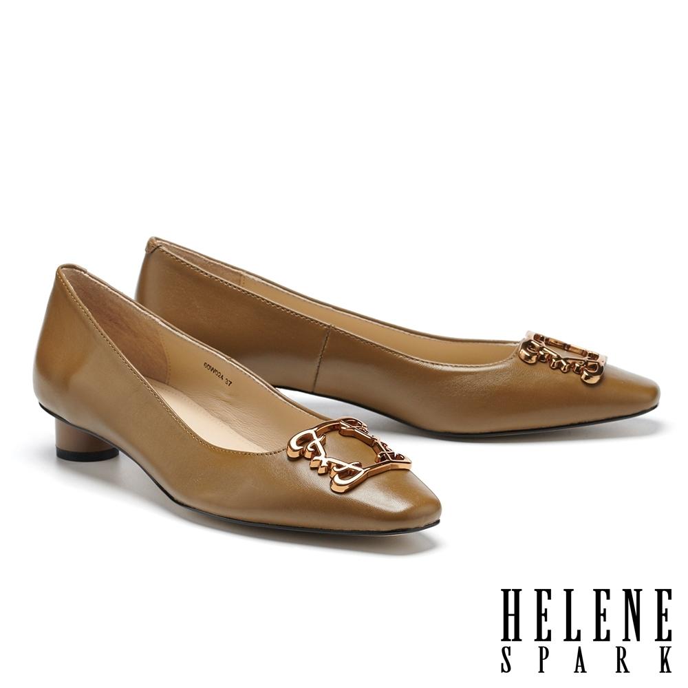 低跟鞋 HELENE SPARK 復古典雅大方釦全真皮低跟鞋-綠