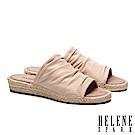 拖鞋 HELENE SPARK 簡約抓皺羊皮造型草編厚底拖鞋-米