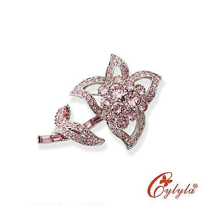 Cylyla思琳娜 粉紅戀愛奧地利水晶胸針B-8402