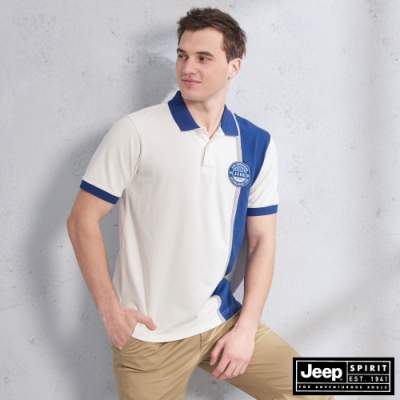 JEEP 直條撞色拼接短袖POLO衫-白色