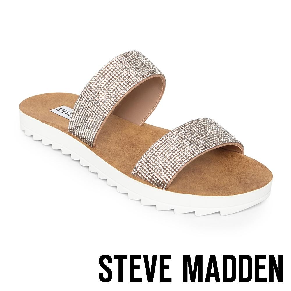 STEVE MADDEN-SUMMER 涼夏奢華水鑽雙帶平底涼鞋-銀色
