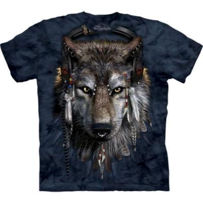 摩達客-自然純棉系列 DJ狼 深藍設計T恤