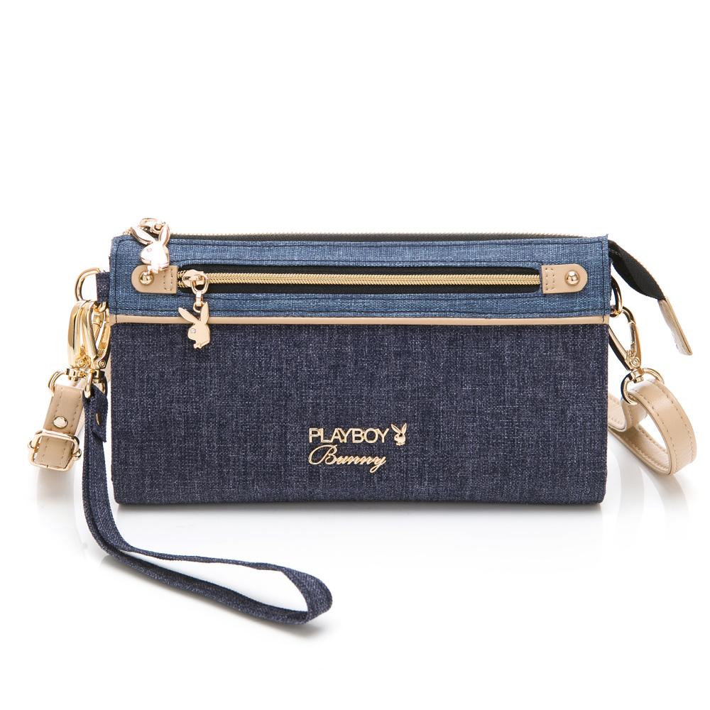 PLAYBOY-  斜背包附手挽帶 單寧世代系列 -藍色