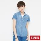 EDWIN 經典貼袋牛仔襯衫-女-漂淺藍