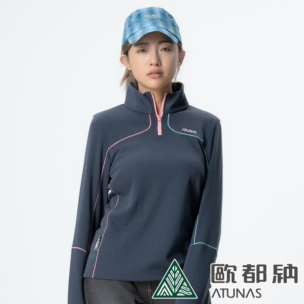 【ATUNAS 歐都納】女款POLARTEC彈性快乾吸排保暖長袖拉鍊衫A-P1803W藍黑