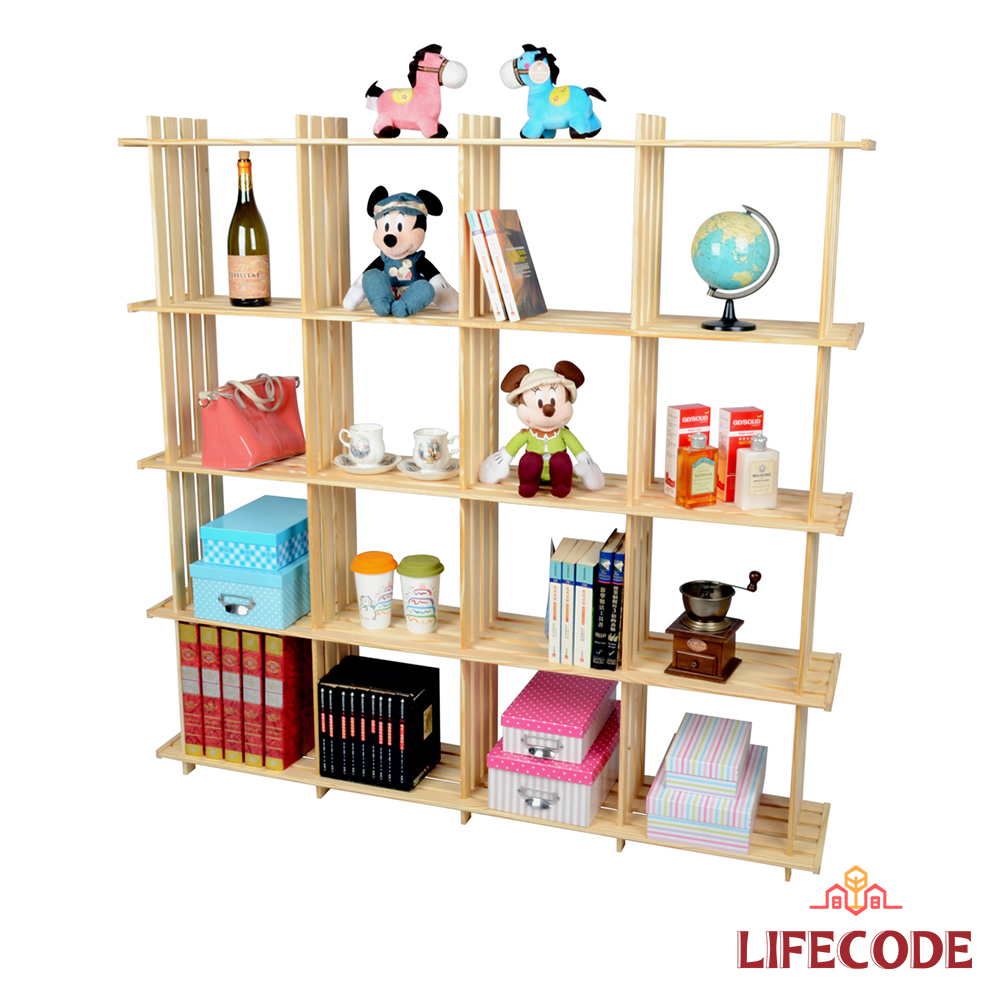 LIFECODE 極簡風黃松木正十六格架/實木置物架/書架/花架