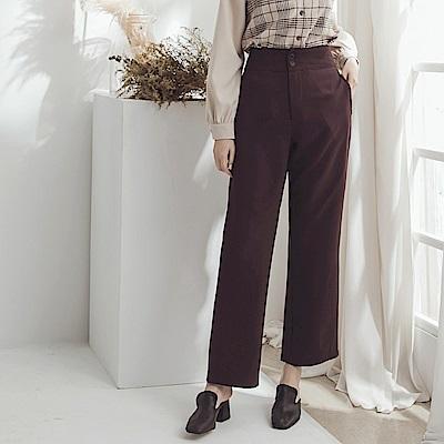 純色不易皺高腰小喇叭厚西裝褲-OB大尺碼