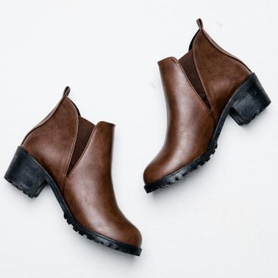 River&Moon短靴-極簡素面側鬆緊切爾西短靴-咖