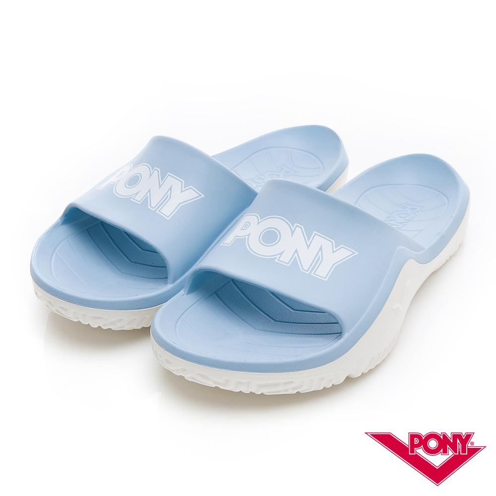 【PONY】輕量抗菌防臭防滑運動拖鞋 涼鞋 男鞋 女鞋 水藍色