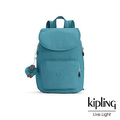 Kipling 靜謐藍綠色素面掀蓋後背包-CAMPANA