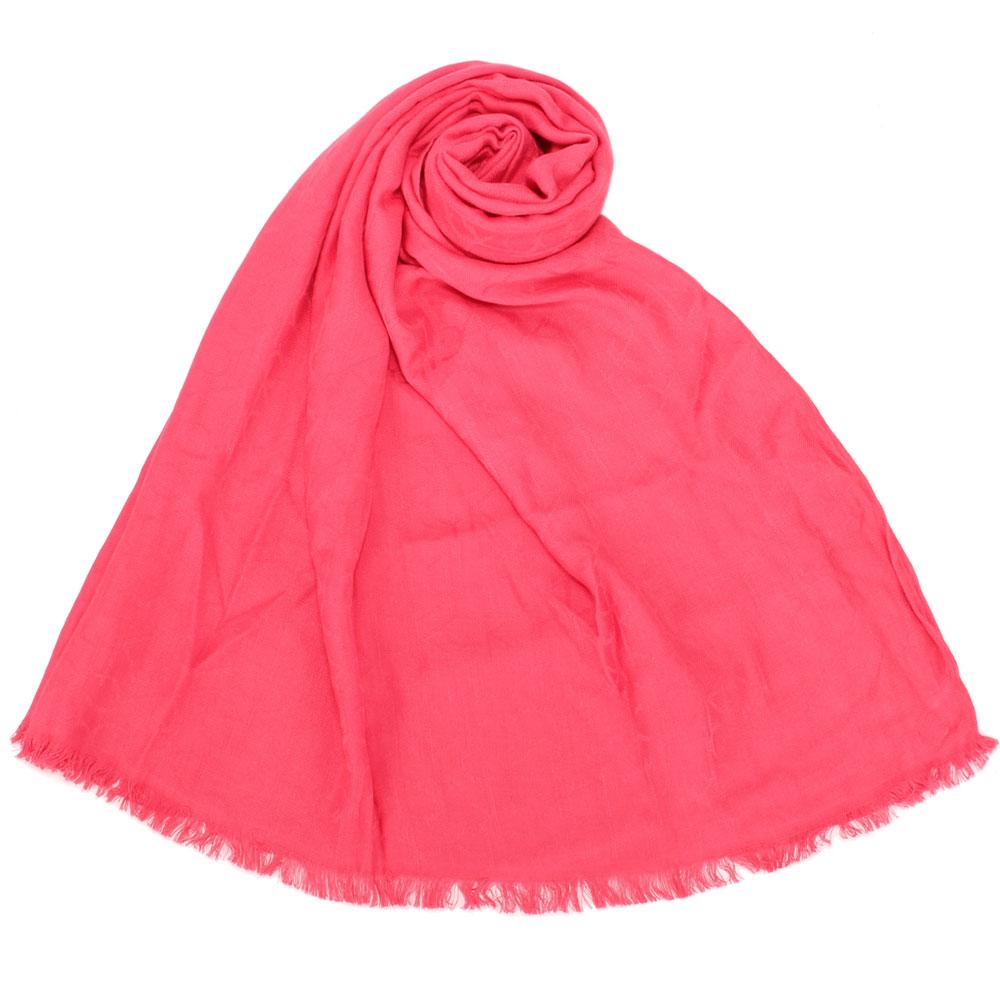 Calvin Klein CK滿版LOGO絲質寬版披肩圍巾-桃紅色 @ Y!購物