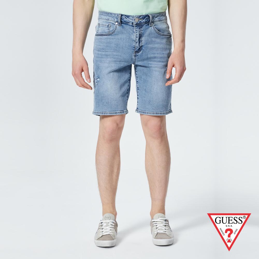 GUESS-男裝-復古仿舊直筒牛仔短褲-藍 原價3590