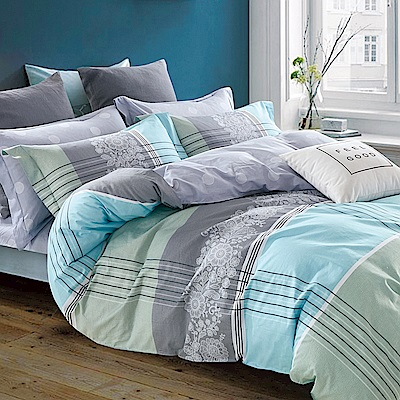 戀家小舖 / 雙人加大床包被套組 拉摩雅典 100%精梳棉 活性印染