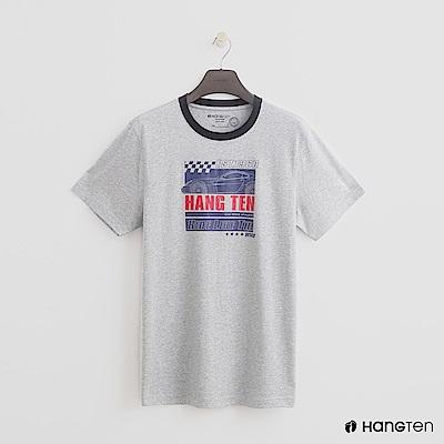 Hang Ten - 男裝 - 有機棉-領口滾邊造型logoT - 灰