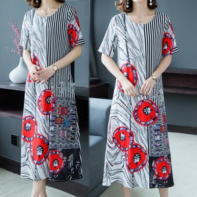 【韓國K.W.】韓時尚超盛優雅條紋印花洋裝