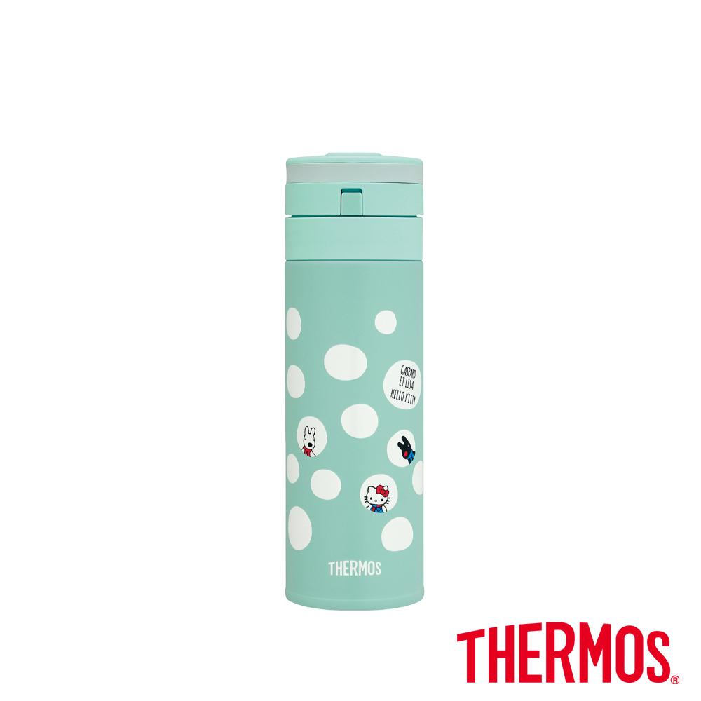 THERMOS膳魔師Hello Kitty 和「麗莎與卡斯柏」保溫瓶0.35L-LB(藍綠色)