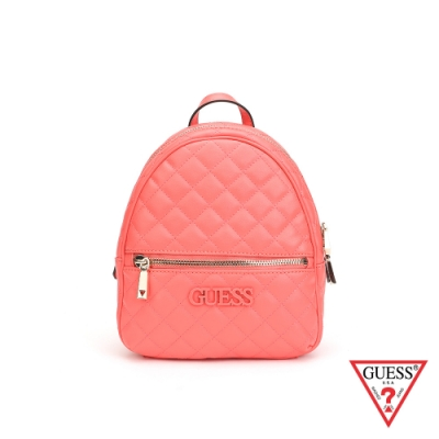 GUESS-女包-素面菱形壓紋後背包-桃紅