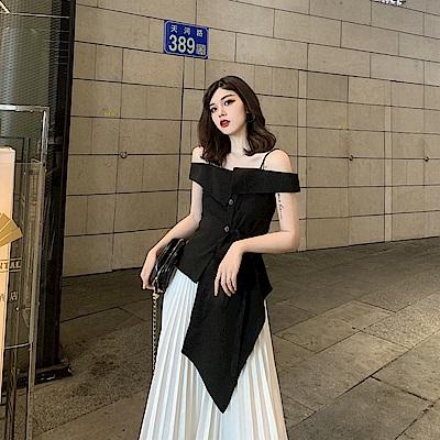 DABI 韓系一字領氣質不規則襯衫短袖上衣