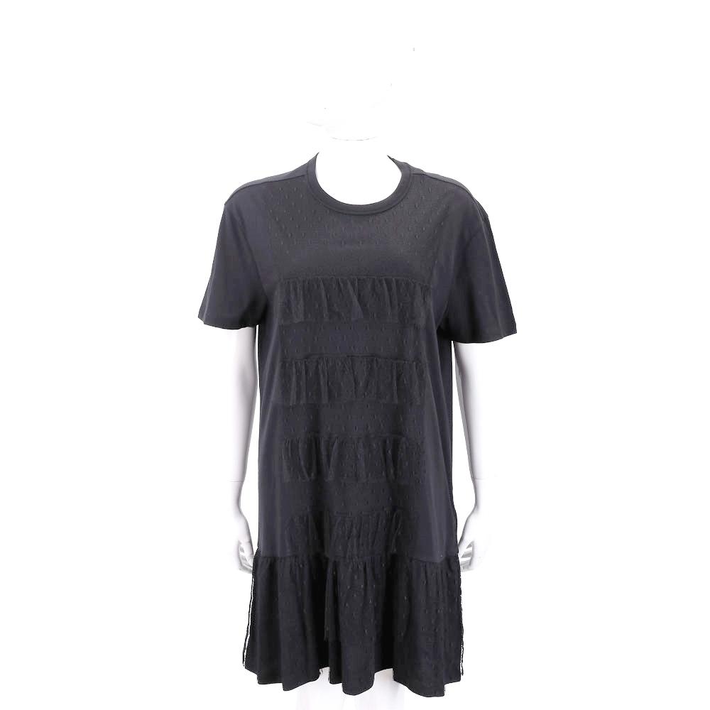 RED VALENTINO 點點蕾絲拼接黑色棉質洋裝