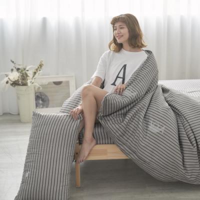 BUHO 天然嚴選純棉單人床包+雙人被套三件組(浮生映流)