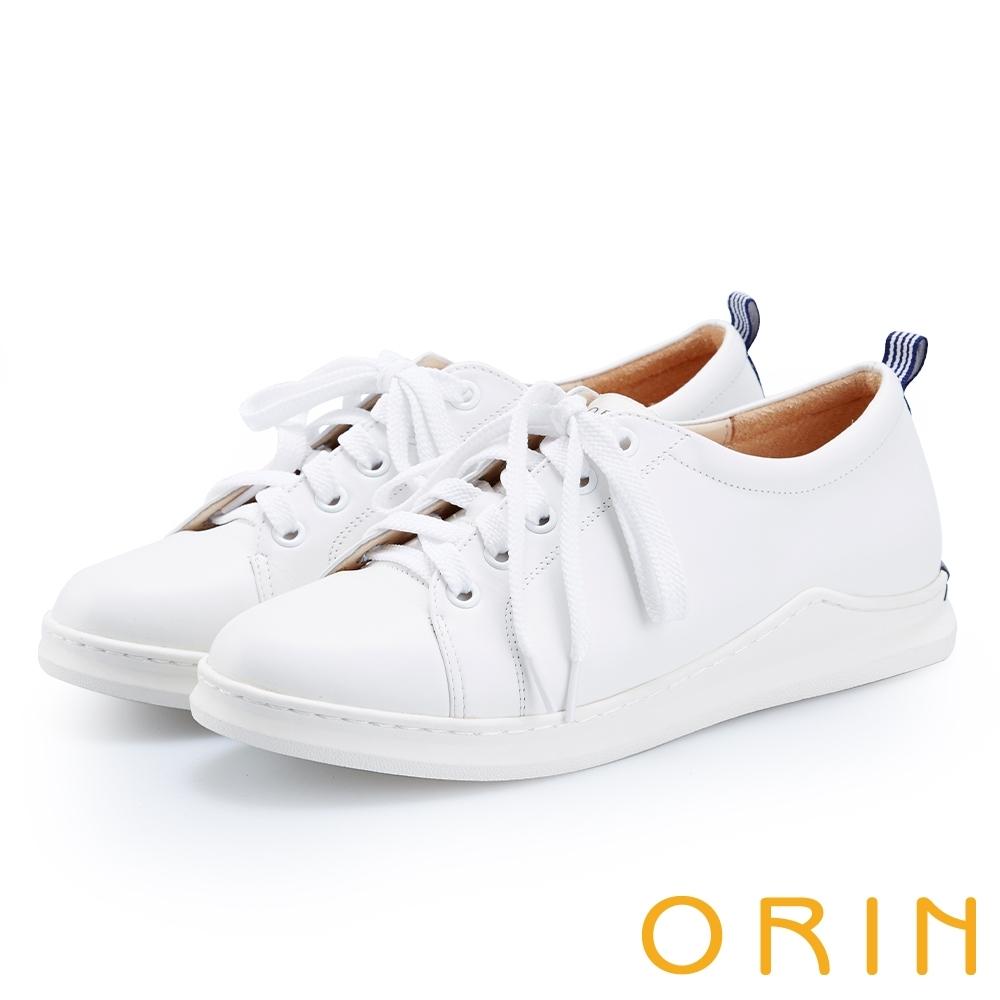 ORIN 休閒時尚風 素面真皮綁帶休閒平底鞋-白色