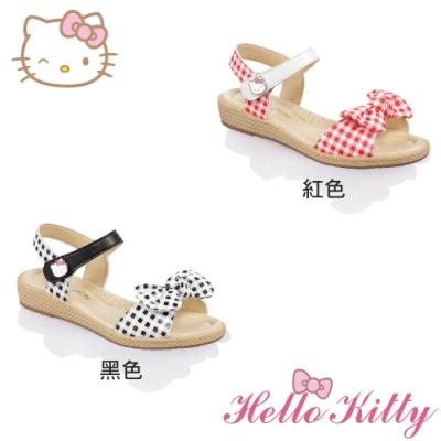 (雙11)Hello Kitty童鞋 手工超纖皮革減壓涼鞋-黑.紅