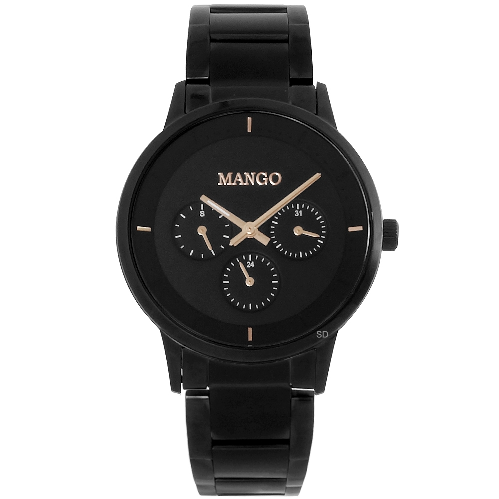 MANGO 簡約質感三眼時尚手錶-黑/42mm
