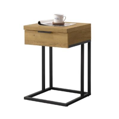 【AT HOME】北歐簡約黃金橡木色造型單抽小邊几//客廳桌/矮桌/咖啡桌(雅博德)