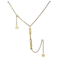 Dior 品牌字母垂墜飾長項鍊(古銅金)