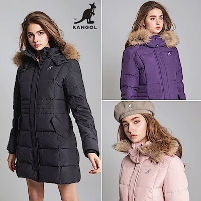 【KANGOL】英國品牌長版羽絨外套-女-共三色