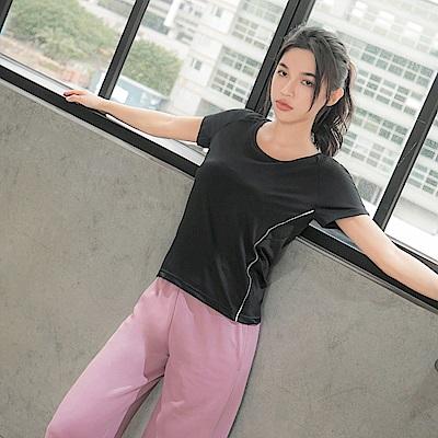 台灣製造.網布拼接側邊反光條運動短袖上衣-OB大尺碼