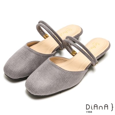 DIANA 質感壓紋方頭金釦雙繞帶2way拖鞋-百變造型-灰
