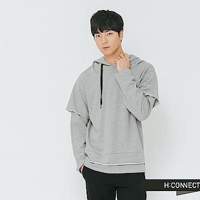 H:CONNECT 韓國品牌 男裝-捲邊層次帽T-灰