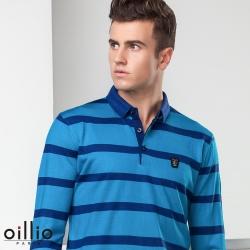 oillio歐洲貴族 男裝 長袖防皺針織線衫 POLO領紳士休閒 藍色