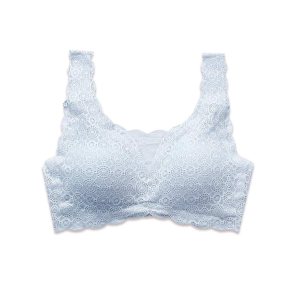 Show Bra日本同步SGS認證美背無鋼圈蕾絲內衣(藍)
