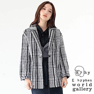 E hyphen 格紋圖案落肩西裝夾克外套