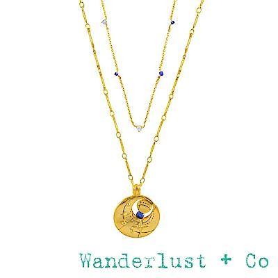 Wanderlust+Co 澳洲品牌 九月誕生石項鍊 鑲鑽金色項鍊