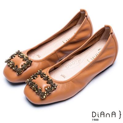 DIANA 漫步雲端超厚切焦糖美人款—簡約方釦真皮平底鞋-棕