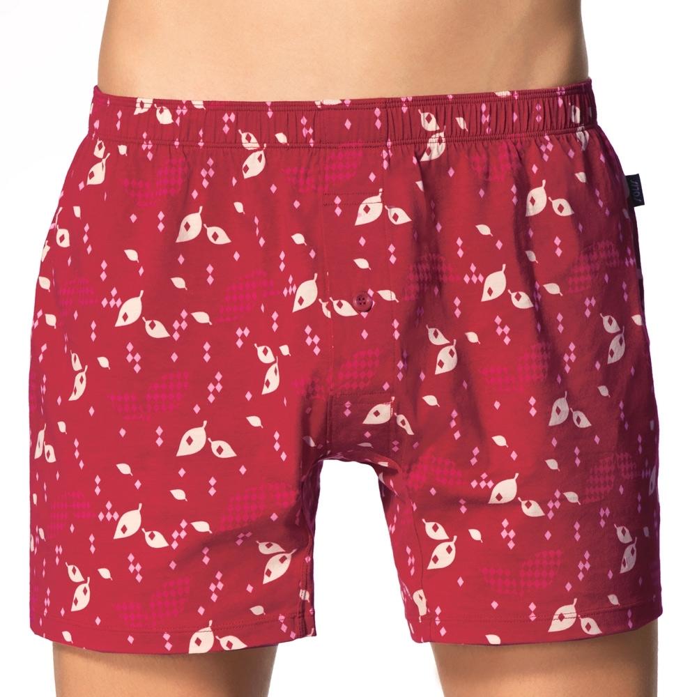 SOLIS 葉綠素系列M-XXL寬鬆印花四角男褲(棗紅色)