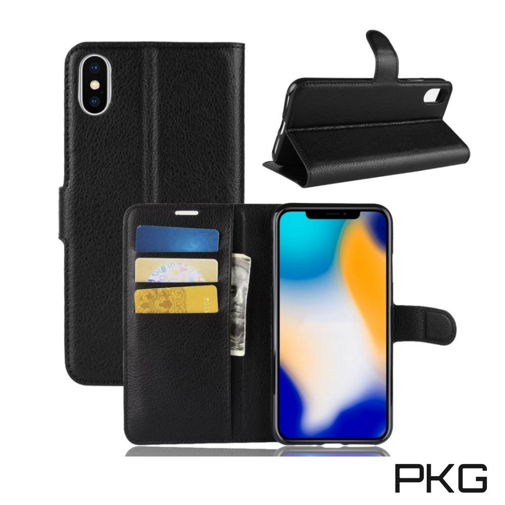 PKG Apple IPhone XS MAX 側翻式皮套-經典皮套系列-黑色
