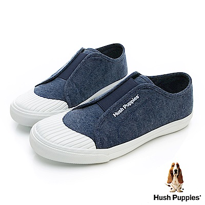 Hush Puppies 簡約貝殼頭懶人便鞋-藍色