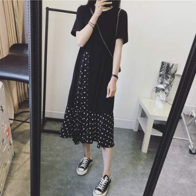 2F韓衣-簡約素色波點氣質造型洋裝-黑(M-2XL)
