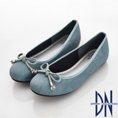 DN 輕熟物語 甜美蝴蝶結雲彩紋娃娃鞋-藍