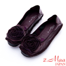 2.Maa - 莊嚴復古玫瑰造型牛皮娃娃鞋 - 紫