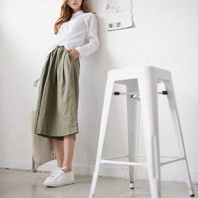 Lockers 木櫃 復古文藝純色鬆緊腰棉麻七分闊腿褲-3色