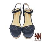 【SM】閃亮一字雕花水鑽羊皮高跟楔型涼鞋