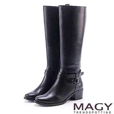 MAGY 經典騎士 簡約雙皮帶扣環長靴-黑色