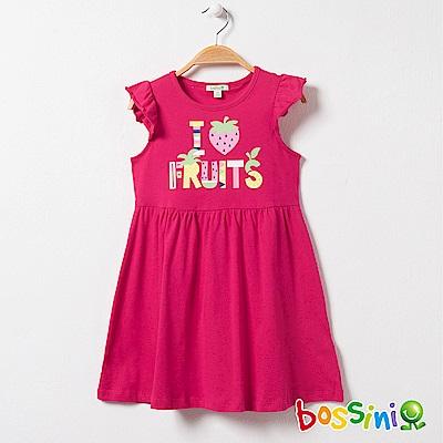 bossini女童-印花連身洋裝10亮桃紅