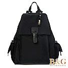 B&G 輕盈多口袋雙肩後背包(黑皮革絲光黑)